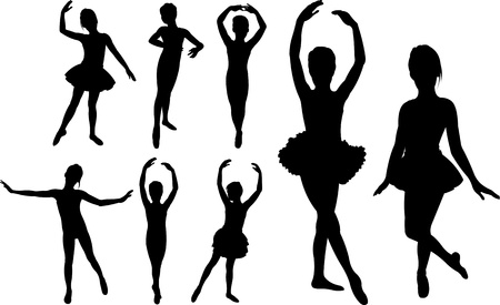 ballet slippers: Set of ballet girls dancers silhouettes