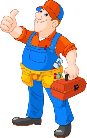 Cartoon illustration of  serviceman holding tool box Иллюстрация