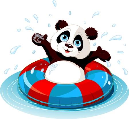여름 재미 팬더 수영 일러스트