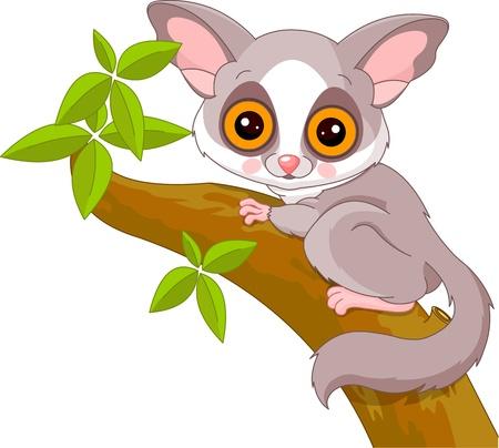 illustration zoo: Fun Illustrazione zoo di cute Galago Vettoriali