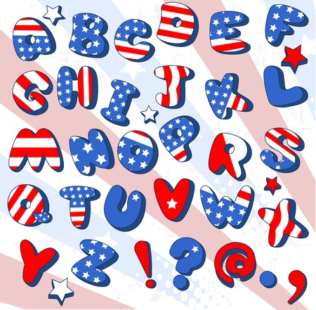 Patriotic  Cartoon font   Letters  from A to Z Stock Vector - 13429731
