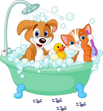 pato caricatura: Perro muy lindo y el gato que tiene un baño con jabón Vectores
