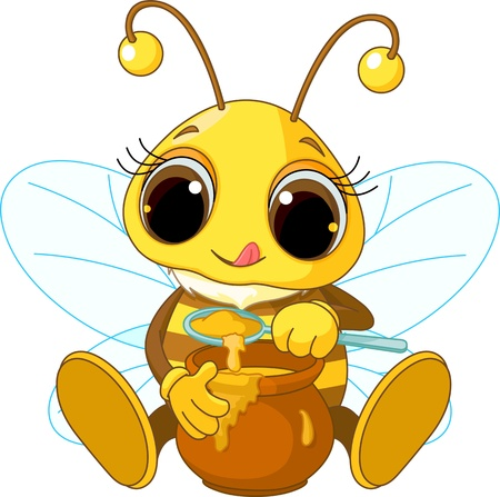 honey bees: Illustration of Cute Bee eating honey
