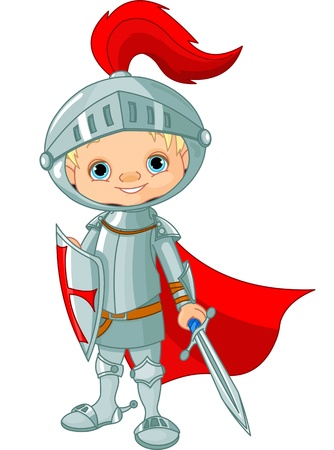 cartoon knight: Illustration of little knight