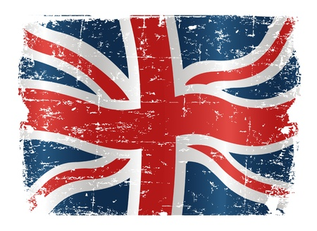 old english: Illustration of UK flag with a texture Illustration
