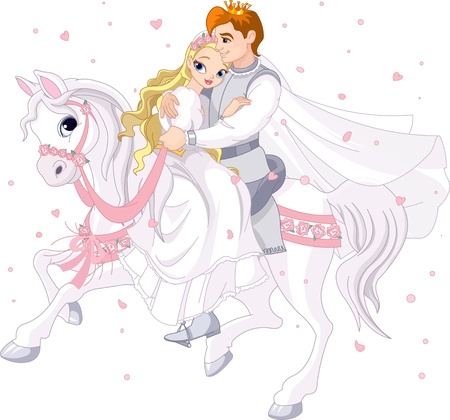 happy couple: Royalty bride and groom on white horse Illustration