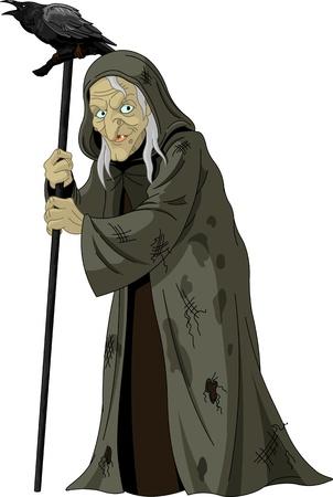 heks: Illustratie van de oude heks met de raaf
