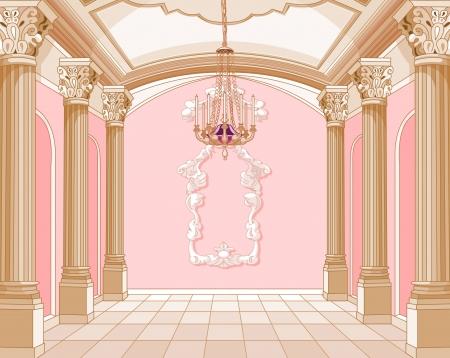 castillos de princesas: Interior del sal�n de baile del castillo de la magia Vectores