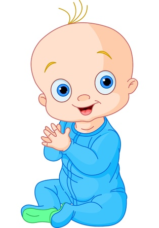 baby blue: Illustration of Cute baby boy clapping hands Illustration