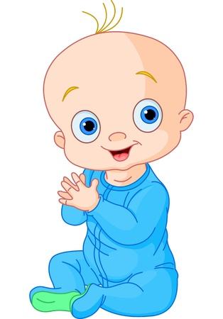 Illustration von Cute Baby Boy Hände klatschen