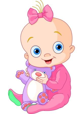 テディー ・ ベアのかわいい赤ちゃんの女の子のイラスト