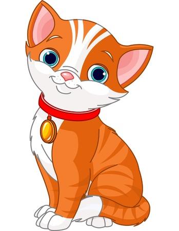 金のタグを持つ赤いつばを身に着けてかわいい猫のイラスト