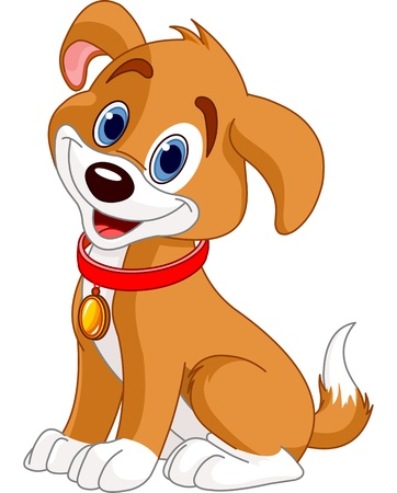 Illustration of cute puppy, wearing a red collar with gold tag  Vector