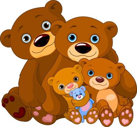 Illustration of big bear family