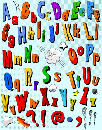 Comic book alphabet. Letters  from A to Z  Vector