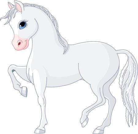 yegua: Ilustración de hermoso caballo blanco