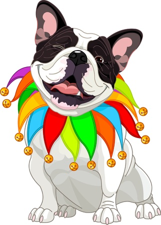 carnival costume:  French bulldog wearing a colorful collar with bells