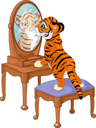 tiger cub: Mignon b�b� tigre regardant dans le miroir