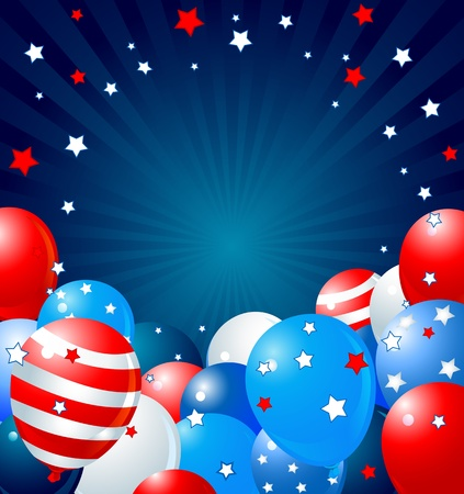 Patriotic border of multicolored balloons Vector