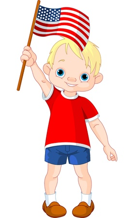 Illustration of Boy holding American flag   Vector