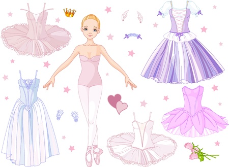Paper Doll Ballerina with different   costumes  矢量图像