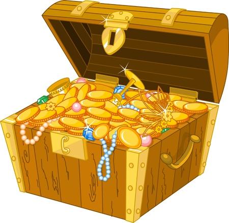pirata: Ilustración de cofre del tesoro lleno de oro Vectores