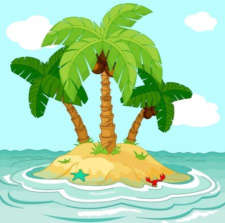 사막 섬에 팜 나무의 그림