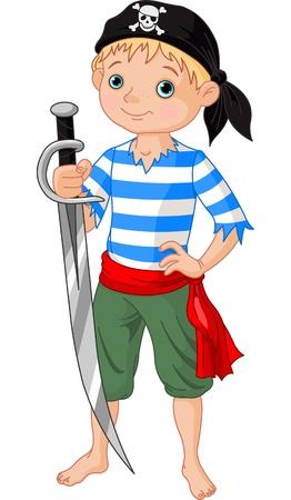 Illustratie van schattige jongen die piraat zwaard