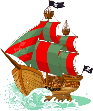 Piratenschip op een witte achtergrond Stock Illustratie