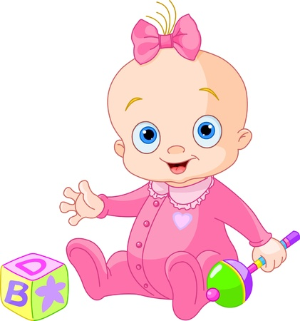 cute baby girls: Baby Girl  playing with rattle Illustration
