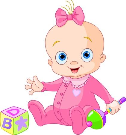 Meisje van de baby het spelen met rammelaar