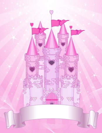 castillos de princesas: Princesa de cuento de hadas rosa castillo en el fondo radial con lugar para el texto Vectores