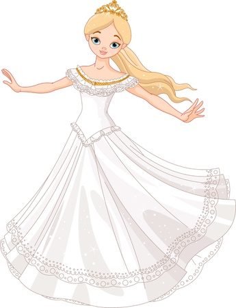 Illustration of beautiful princess dancing Иллюстрация