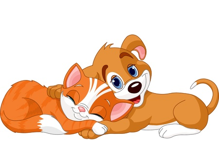 Best friends cute dog and cat Illustration