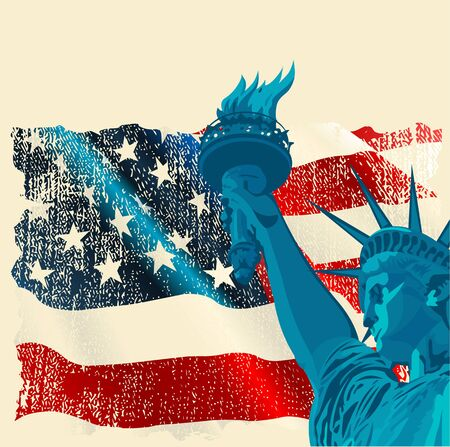A grunge American flag with the statue of liberty Vector
