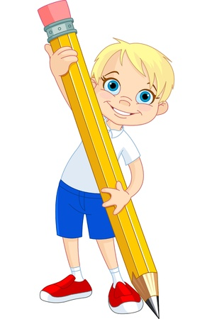 Illustration of Little Boy and Giant Pencil Ilustracja