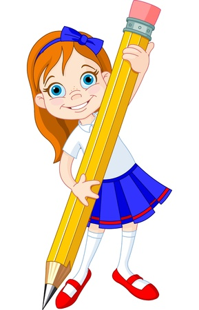 Illustration of Little Girl and Giant Pencil Vector
