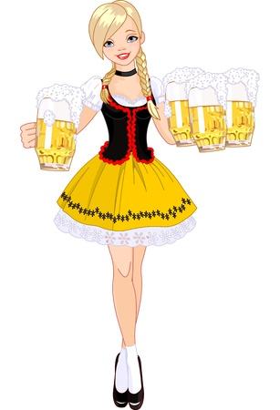 ビールを提供して面白いドイツ少女のイラスト  イラスト・ベクター素材