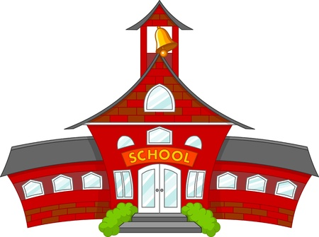 Illustration of cartoon school building Фото со стока - 14095703