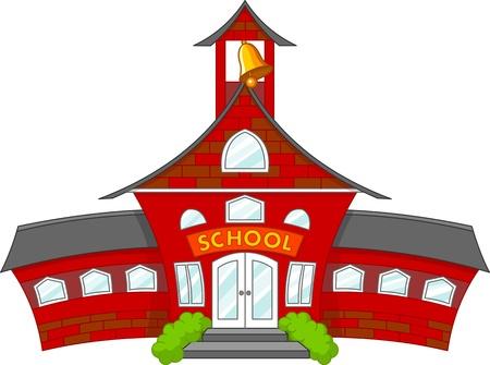 case colorate: Illustrazione di costruzione cartone animato scuola Vettoriali