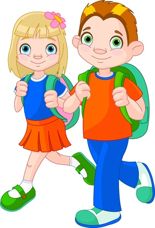 Illustration of girl and boy go to school Çizim