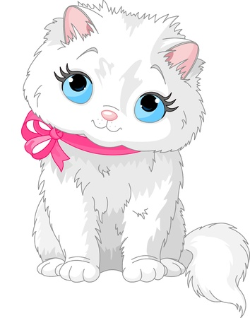 mjau: Illustration of fluffy white Cat with pink bow