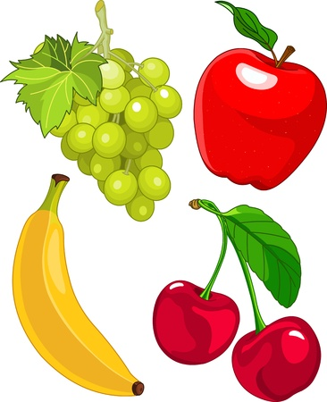 banaan cartoon: Cartoon fruit set, zijn onder andere banaan, druiven, appels en kersen Stock Illustratie