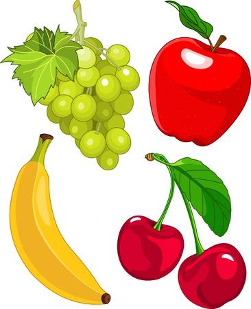 manzana caricatura: Serie de dibujos animados de frutas, uva incluyen banano, manzana y cereza
