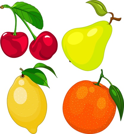 Cartoon fruit set, include cherry, pear, lemon and orange Vector