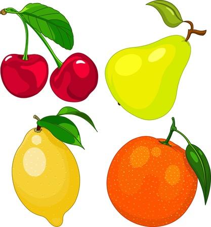 Cartoon fruit set, include cherry, pear, lemon and orange