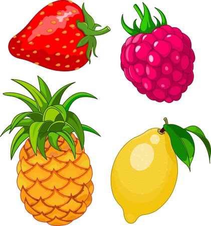 Cartoon fruit set, include lemon, strawberry, raspberry and pineapple Vector