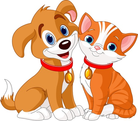 cartoon poes: Illustratie van beste vrienden ooit - Kat en Hond Stock Illustratie