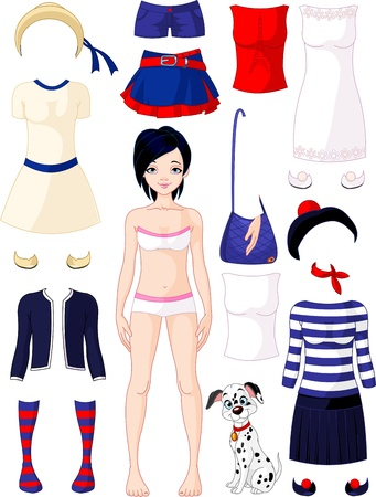 Paper doll with clothing set  Summer in Paris Vector
