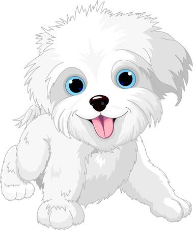 かわいい遊び心のあるラップ犬のイラスト